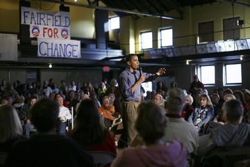 U.S. Presidential candidate Senator Barack Obama (D-IL) speaks during a campaign stop in Fairfield, Iowa