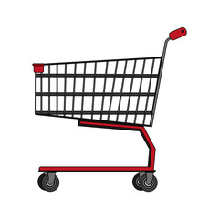 color image realistic shopping cart of supermarket vector illustration
