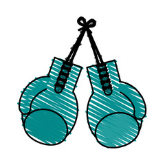 color crayon stripe image set boxing gloves sport element vector illustration