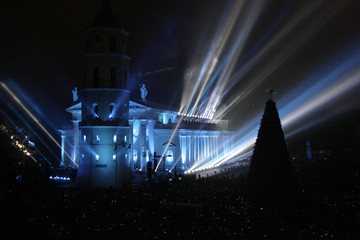 Vilnius Cathedral is illuminated in Lithuania