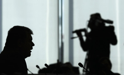 Germany's Social Democratic Party leader Beck adresses a news conference after a party meeting in Berlin