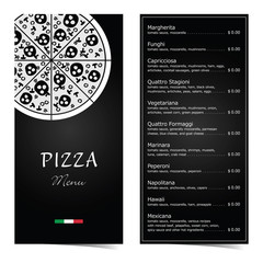 pizza menu design on black illustration set one