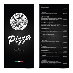 pizza menu design on black illustration set two