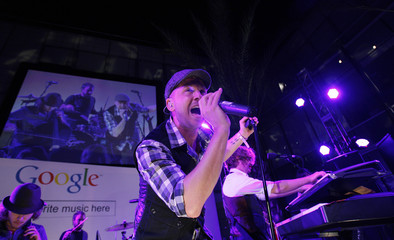 """Tedder of OneRepublic performs during the """"Discover Music!"""" event at Capitol Studios in Hollywood"""