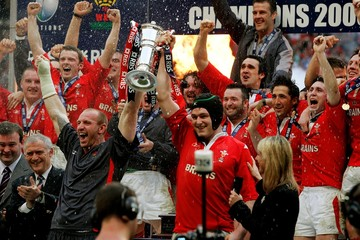 Wales' captains Owen and Thomas lift their winners trophy after defeating Ireland in their Six Nations ...