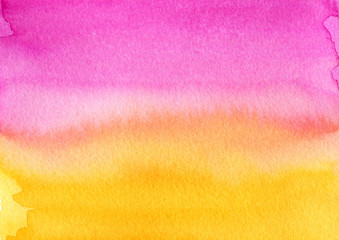Colorful watercolor wash. Hand painted watercolor background. Ombre gradient, sunset colors.
