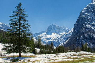 Wall Mural - Majestic mountain landscape in the early springtime. Snow melting in the Alps, Austria, Tyrol