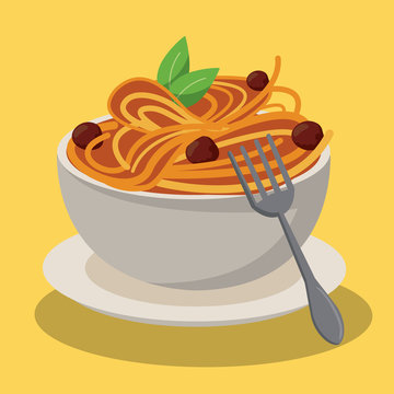 bowl spaghetti and meatballs sauce food fresh vector illustration