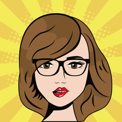 woman wearing glasses pop art comic vector illustration