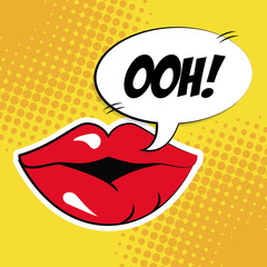 sexy female lips bubble speech pop art vector illustration