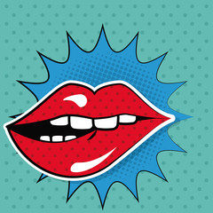 sexy female lips teeth bubble speech pop art vector illustration