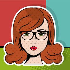 woman glasses smart pop art comic vector illustration