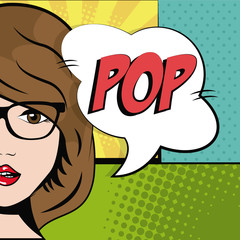 comic brunette girl glasses bubble speech pop art vector illustration