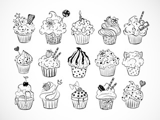 Set of doodle sketch cupcakes with decorations on white background. Vector illustration.