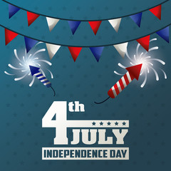 4th july independence day garland fireworks decoration celebrate vector illustration