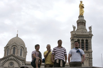 Australia's Rugby World Cup players Barnes, Mortlock, Vickerman and Sheperson pose for photos in Marseille