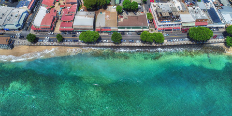 Aerial View of Front Street - Lahaina Town - Island of Maui, Hawaii