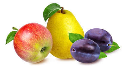 Fototapete - apples,pear and   plum isolated on white