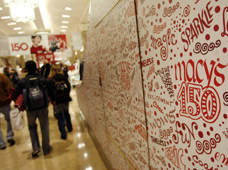 Wallpaper celebrating the 150th birthday of the Macy's brand is seen in New York