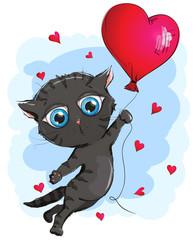 Black kitten is flying in a hot air balloon