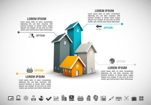 3D House Bar Graph Infographic 1