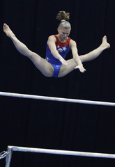 Russia's Goryunova competes during the apparatus finals at the World Cup in Artistic Gymnastics in Moscow