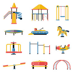 Set of kids playground vector elements in flat design. Children play area devices isolated on white background. Kindergarten amusement toys. Youth sport and recreation ground symbols.
