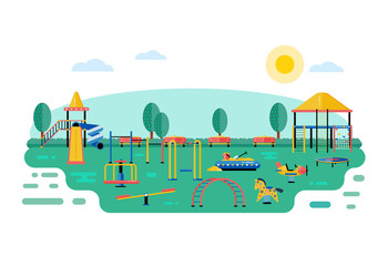 Kids playground vector landscape in flat design. Children play area devices on nature or urban park background. Kindergarten amusement toys outside. Youth sport and recreation ground equipment.