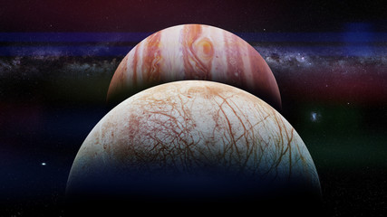 Jupiter's moon Europa in front of the planet Jupiter and the Milky Way galaxy