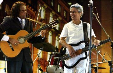 BRAZILIAN SINGER CAETANO VELOSO AND CULTURE MINISTER GILBERTO GIL PERFORM IN SAO PAULO.