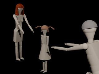 Eltern können sich das gemeinsame Kind bei einer Trenung nicht teilen (3D-Rendering mit Holzpupen)
