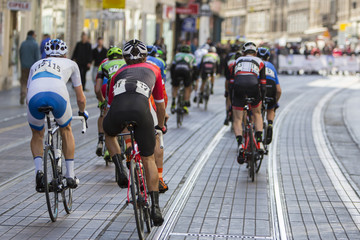 Group of cyclist during the street race