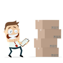 businessman with inventory boxes and checklist