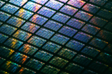 Detail of Silicon Wafer Containing Microchips