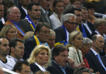 Ukraine's President Yushchenko watches the World Cup 2006 quarter-final soccer match between Ukraine and Italy in Hamburg