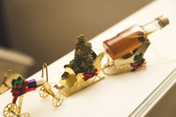 Christmas Ornaments and Mini Liquor on White Ledge