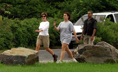 FIRST LADY GOES FOR A WALK IN MAINE.