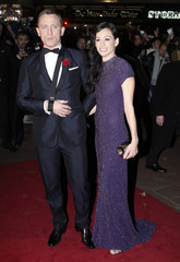 """British actor Craig and his partner Mitchell arrive for the world premiere of the latest James Bond movie """"Quantum of Solace"""" in London"""