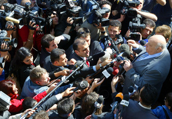TURKISH CYPRIOT LEADER DENKTASH ADDRESSES MEDIA AFTER VOTING IN REFERENDUM IN NICOSIA.