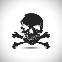 Negative of skull with crossbones vector illustration