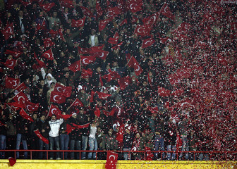 Turkey's fans celebrate win over Bosnia in Euro 2008 Group C qualifying match in Istanbul