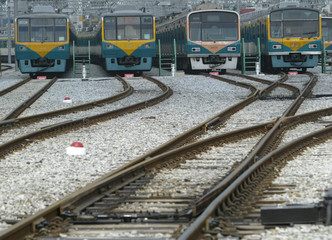 Trains are parked at a rolling stock office in Seoul