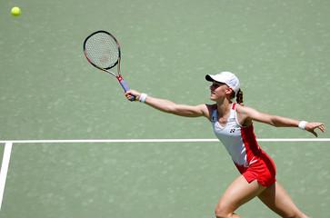 Russia's Elena Dementieva reaches for the ball at the Sydney International tennis tournament.