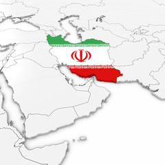 3D Map of Iran with Iranian Flag on White Background 3D Illustration