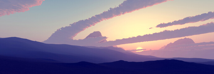Desert Sunset - Panorama HD 4K - 3D Rendering