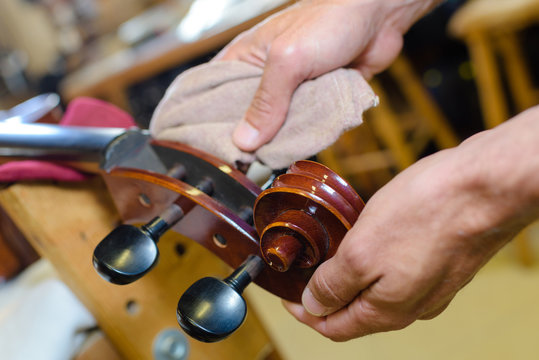 Musical instrument being polished