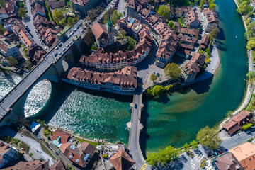 Aerial view of Aare river around Bern old town