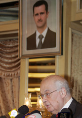 Lebanon's former Prime Minister Salim al-Hoss speaks at the opening of a gathering of Lebanese and Syrian researchers to discuss ties between the two countries in Damascus