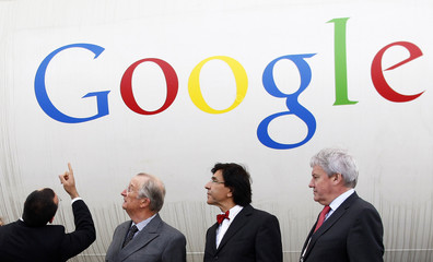 Belgium's King Albert visits the site of the future Google Datacenter in Mons