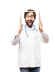 young doctor man with a frame